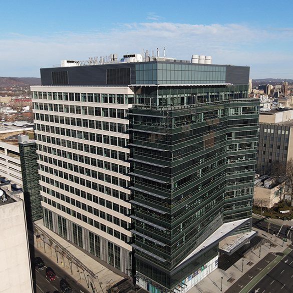 Aerial view of building at 100 College Street.